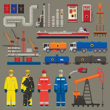 Oil industry set with pipeline brush