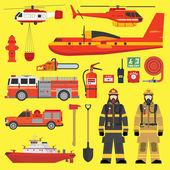 Požární zařízení infografiky sada
