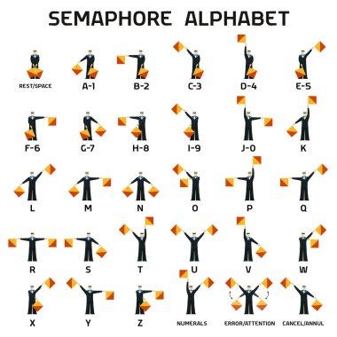 Semaphore alphabet flags on a white background