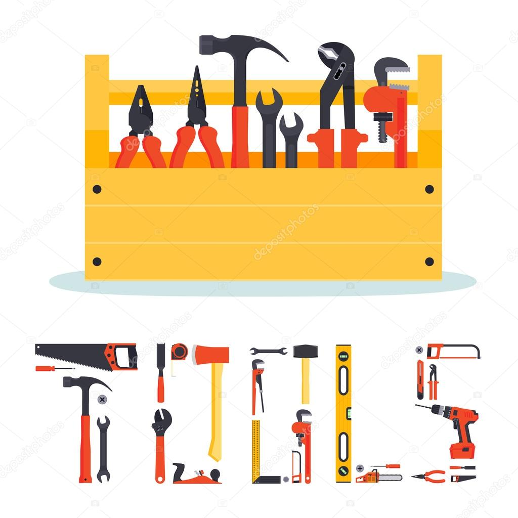 Hardware tools box with letters