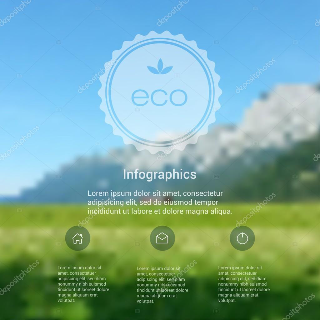 Blurred landscape, eco badge, ecology label