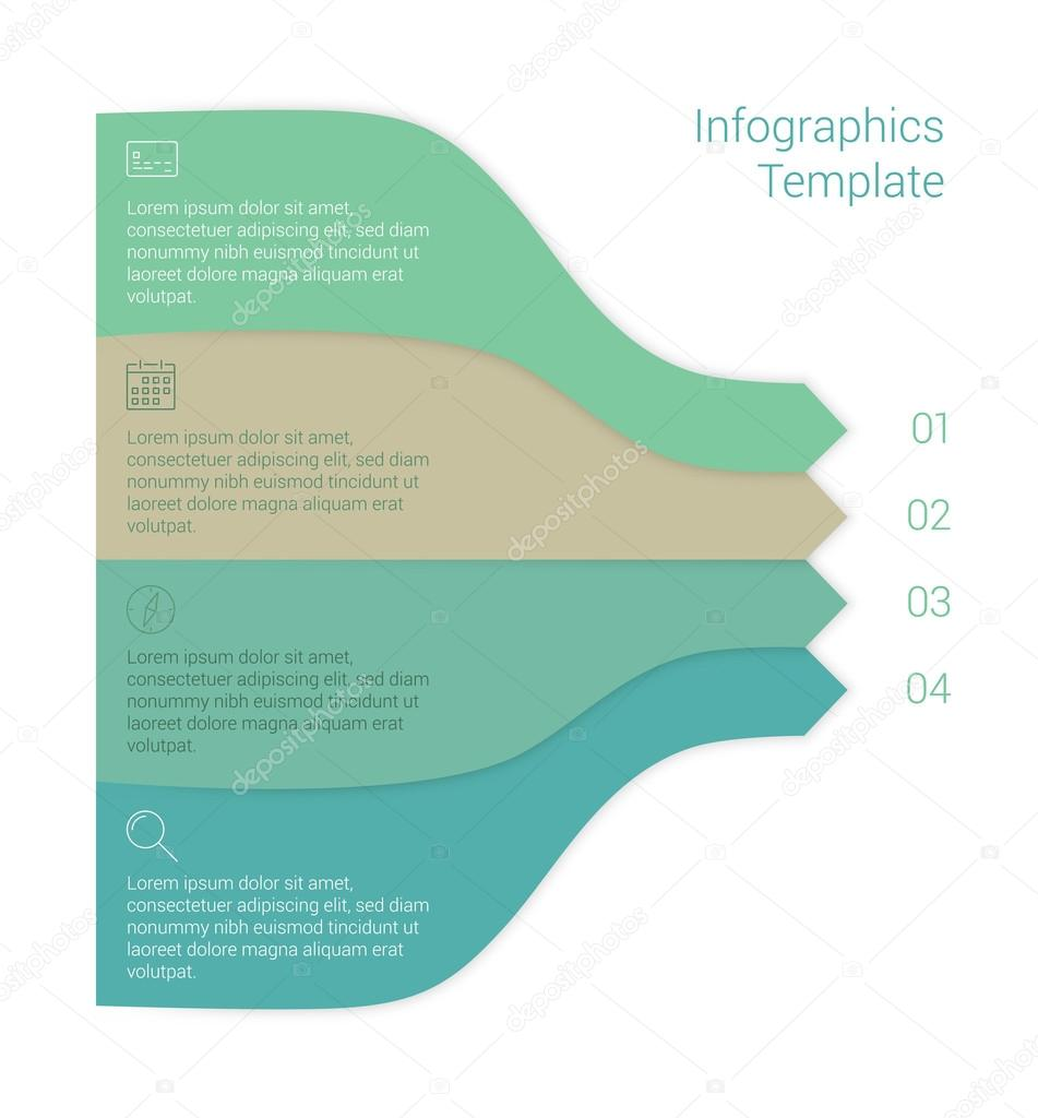 Modern Minimal Style Infographic Template Layout Stock Vector Process Flow Diagram Infographics Numbered Banner Cutout Lines Data Scheme Graphic Or Website Design With Icons Up Down Chart By Dikaya Miau