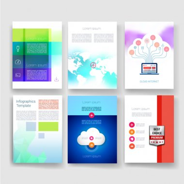 Flyer, Brochure Design Templates set. Geometric Triangular Abstract Modern Backgrounds. Mobile Technologies, Applications and Infographic Concept.