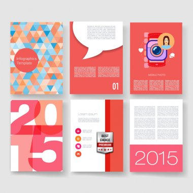 Templates. Vector brochure design collection. Applications and Infographic Concept. Flyer, Brochure Design Templates set. Modern flat design icons for mobile or smartphone on a light background.
