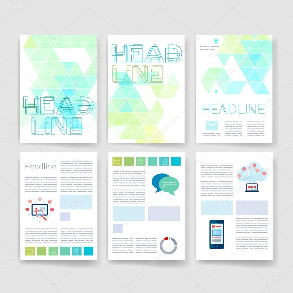 Vorlagen. Satz von Flyer, Broschüre Design-Vorlagen. Mobile ...