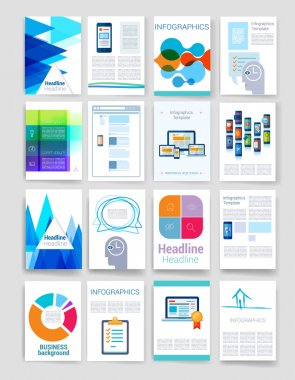 Templates. Set of Flyer, Brochure Design Templates. Mobile Technologies, Applications and Infographic Concept. Modern flat design icons for mobile or smartphone on a light background.