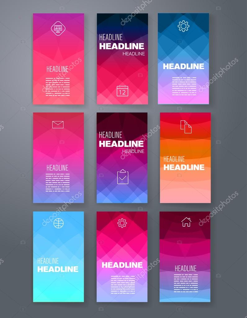 design template set for web mail brochures mobile technology