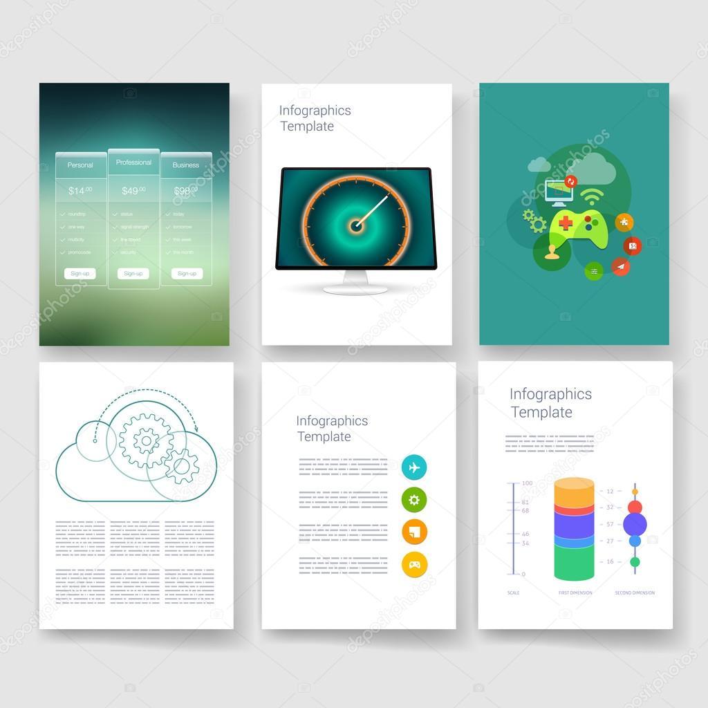Vorlagen. Design-set von Web, Mail, Broschüren. Mobile, Technologie ...