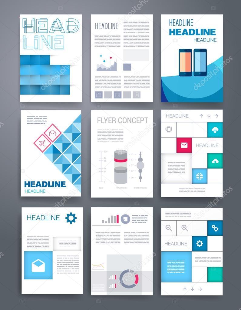 templates design set of web mail brochures mobile technology