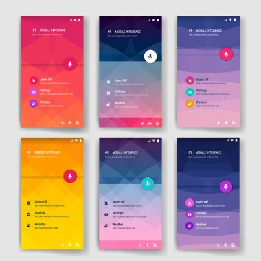 Modern user interface screen template for mobile smart phone or web site. Transparent blurred material design UI with icons.