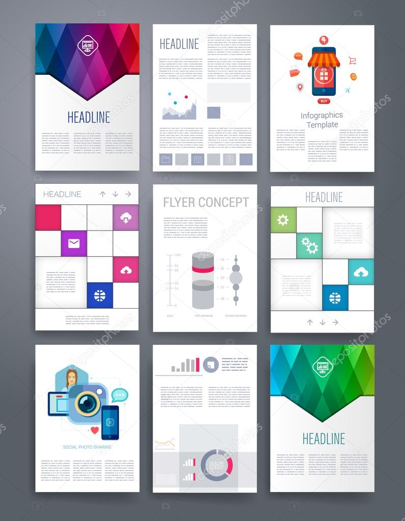 computer technology templates vector flyer brochure cover for