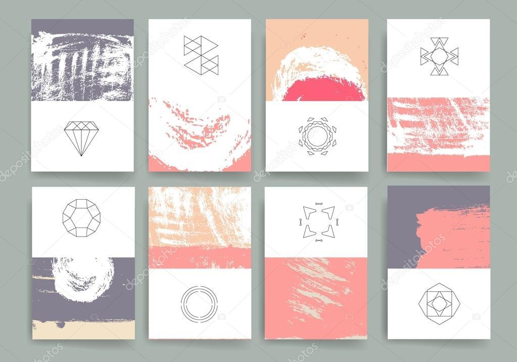 Moderne Karten-Design-Vorlage mit grungy grobe bunte Pinselstriche ...