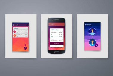 Modern mobile apps and phone cards design template.