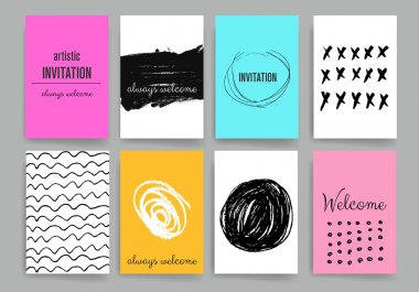 Modern cards design template with grungy rough colorful brush strokes