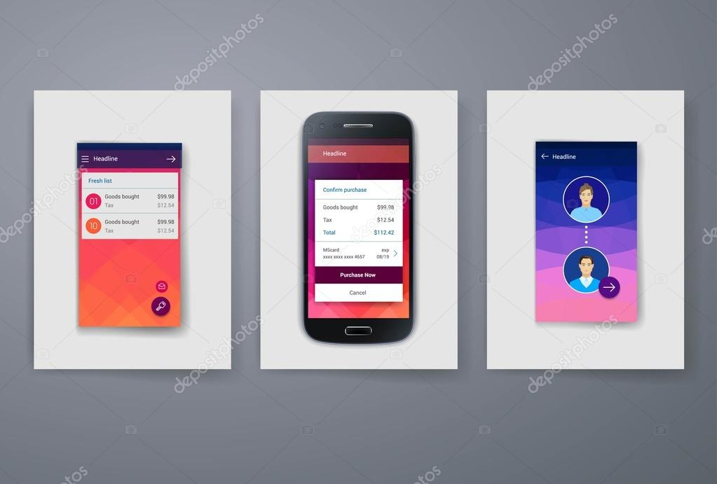 modern mobile apps and phone cards design template ストック