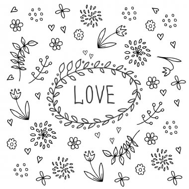 Hand drawn love vintage floral elements.