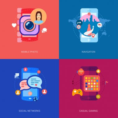 Mobile apps, games, photo selfie and car navigation icons illustration