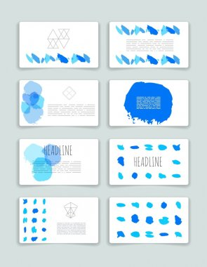 Hand drawn brush strokes card templates set