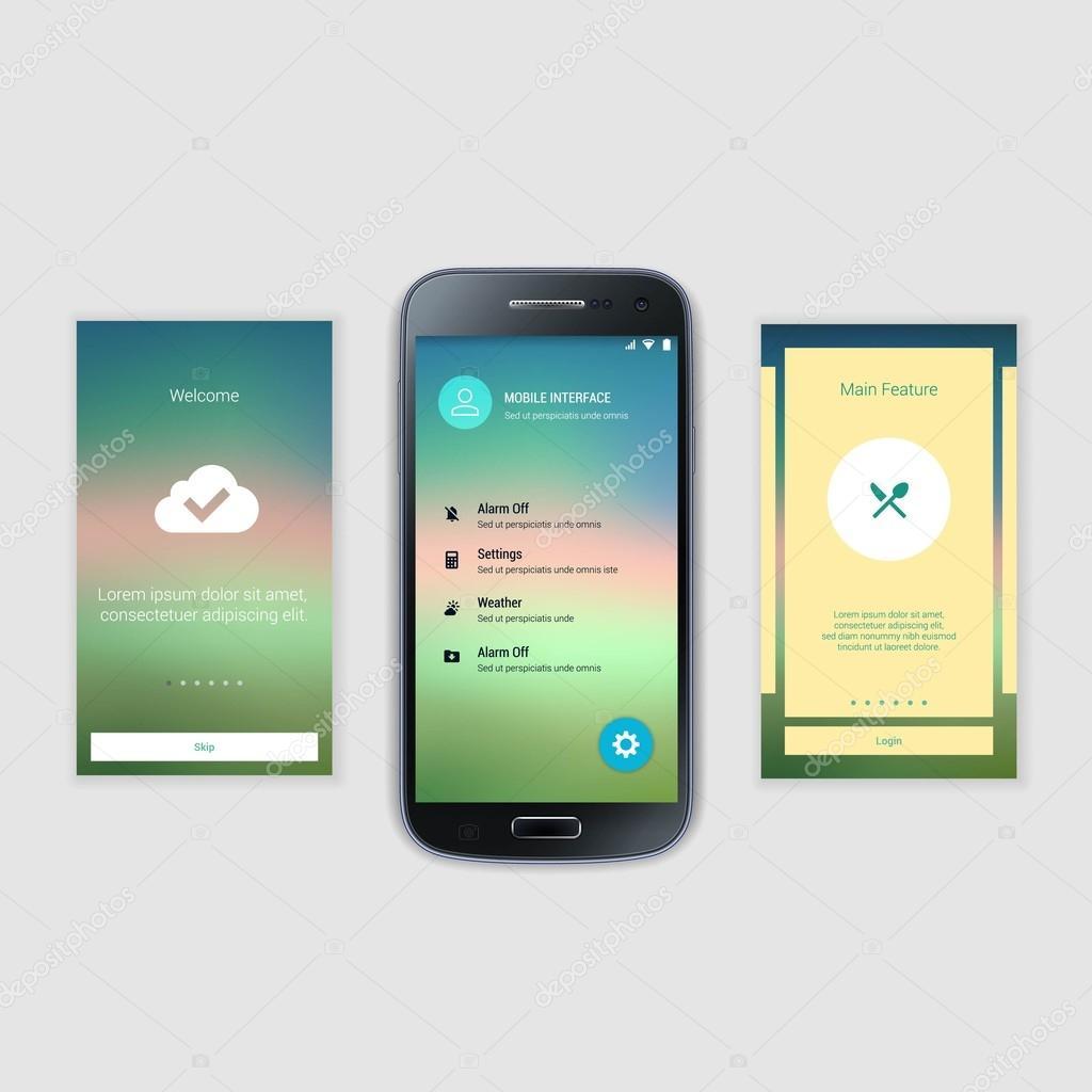 Kit de interfaz de usuario de pantallas de móviles. Interfaz de ...