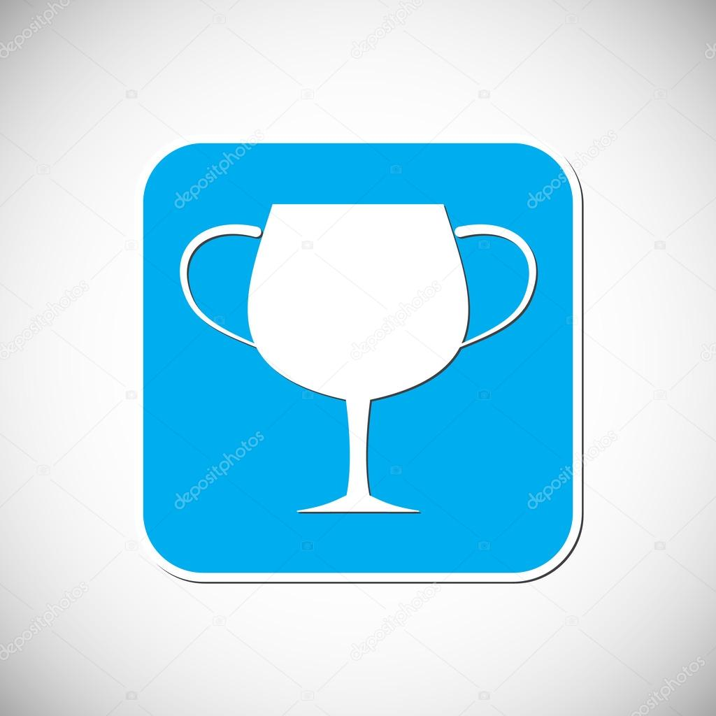 Trophy Icon Blue Square Frame Vector Illustration Stock