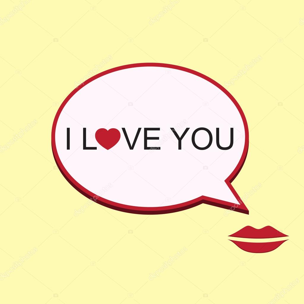 vector i love you speech bubble with mouth stock vector 61906725