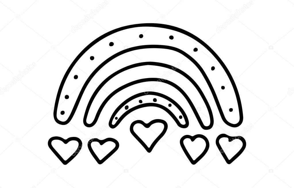 Hand drawn Valentines day boho rainbow with a heart in doodle style isolated on white background icon
