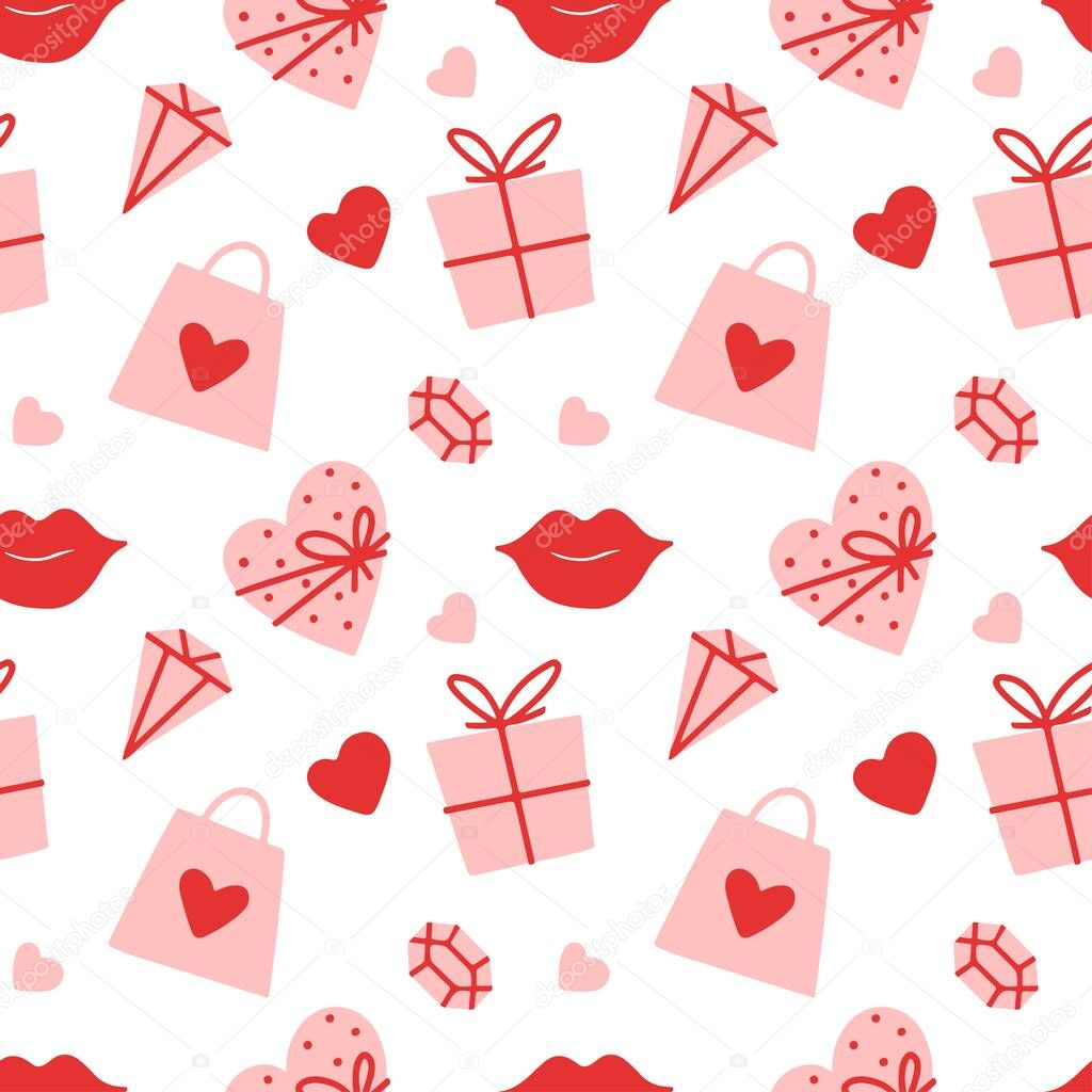 Seamless vector pattern Valentines  day with heart  bag  gift  box  lips  gemstone on white background icon