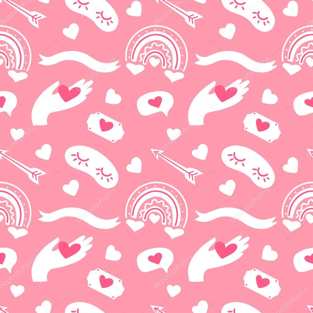 Seamless vector pattern Valentines  day with heart  hand  rainbow  ribbon  bubbles  arrows on pink background icon
