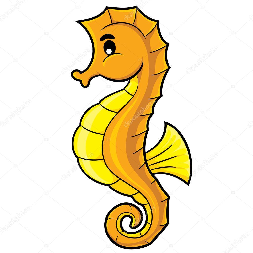 dibujos animados de caballito de mar — Vector de stock ...