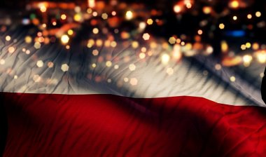Poland National Flag Light Night Bokeh Abstract Background