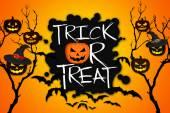 Fogás vagy élvezet fa Halloween Pumpkins denevérek narancssárga háttér