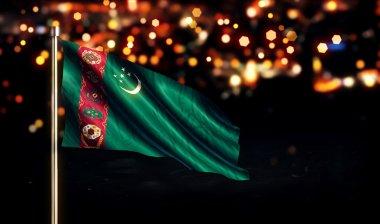 Turkmenistan National Flag City Light Night Bokeh Background 3D