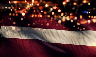 Latvia National Flag Light Night Bokeh Abstract Background