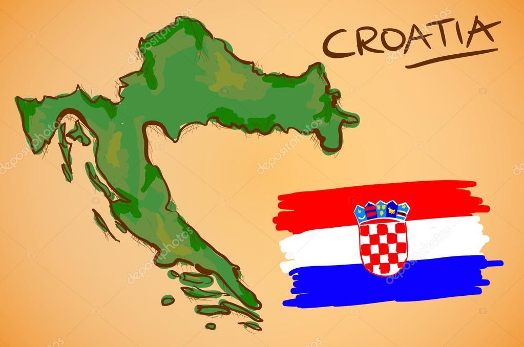 Croatia Map and National Flag Vector Stock Vector