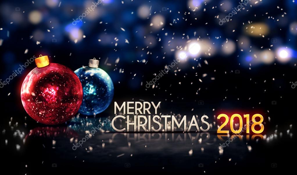 Merry Christmas 2018 Night Bokeh Beautiful 3D Background — Stock ...