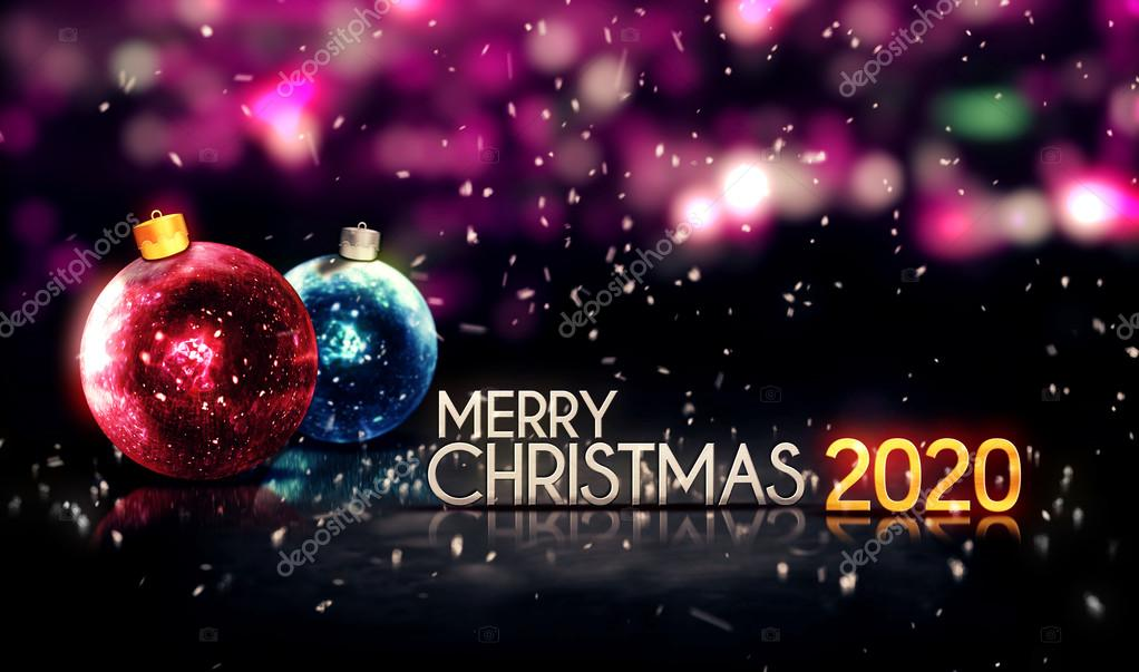 Christmas 2020.Merry Christmas 2020 Night Bokeh Beautiful 3d Background