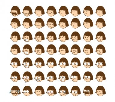 This presentation of another emoticon of young girl mood. stock vector