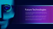Kyborgská tvář a kopírovací prostor. Digitální oko. Budoucí technologie. Vektorová ilustrace.