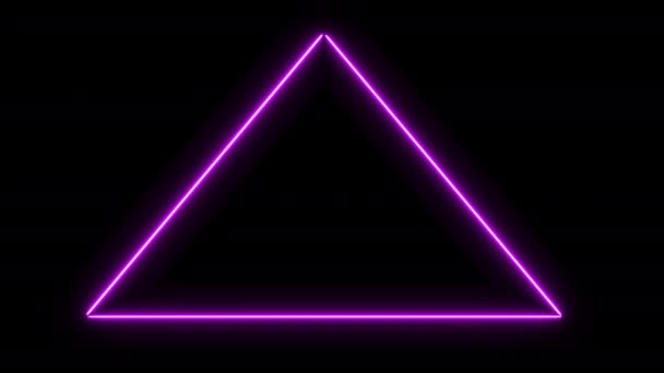 Glowing triangular 3D UI element. Illuminated geometric triangle and pyramid shapes transforming in a seamless loop.