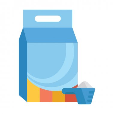 Laundry detergent. Washing powder in a measuring spoon and plastic packaging. Vector illustration isolated on a white background for design and web. icon
