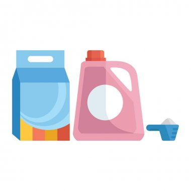 Laundry detergents. Washing powder in a soft package. Fabric softener. Washing powder in a measuring spoon. Vector illustration isolated on a white background for design and web. icon