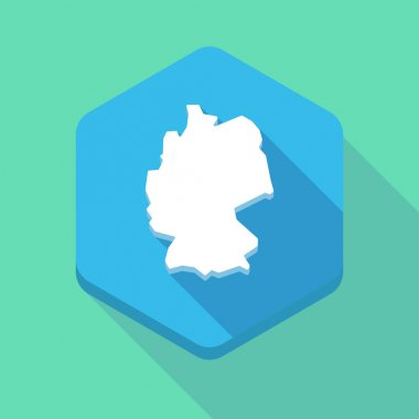 Long shadow hexagon icon with  a map of Germany