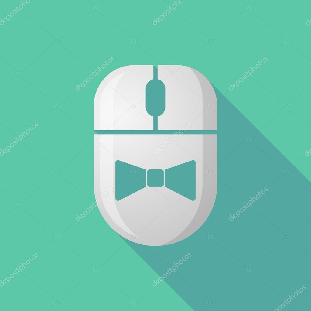 Lange Schatten drahtlose Maus-Symbol mit einem Hals-Krawatte-Symbol ...