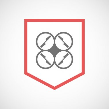Isolated line art ribbon icon with a drone