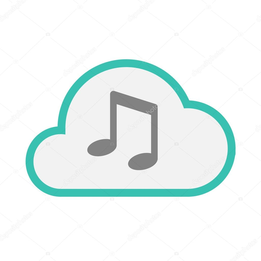 isolated line art cloud icon with a note music stock vector rh depositphotos com Single Music Notes Music Note Icon