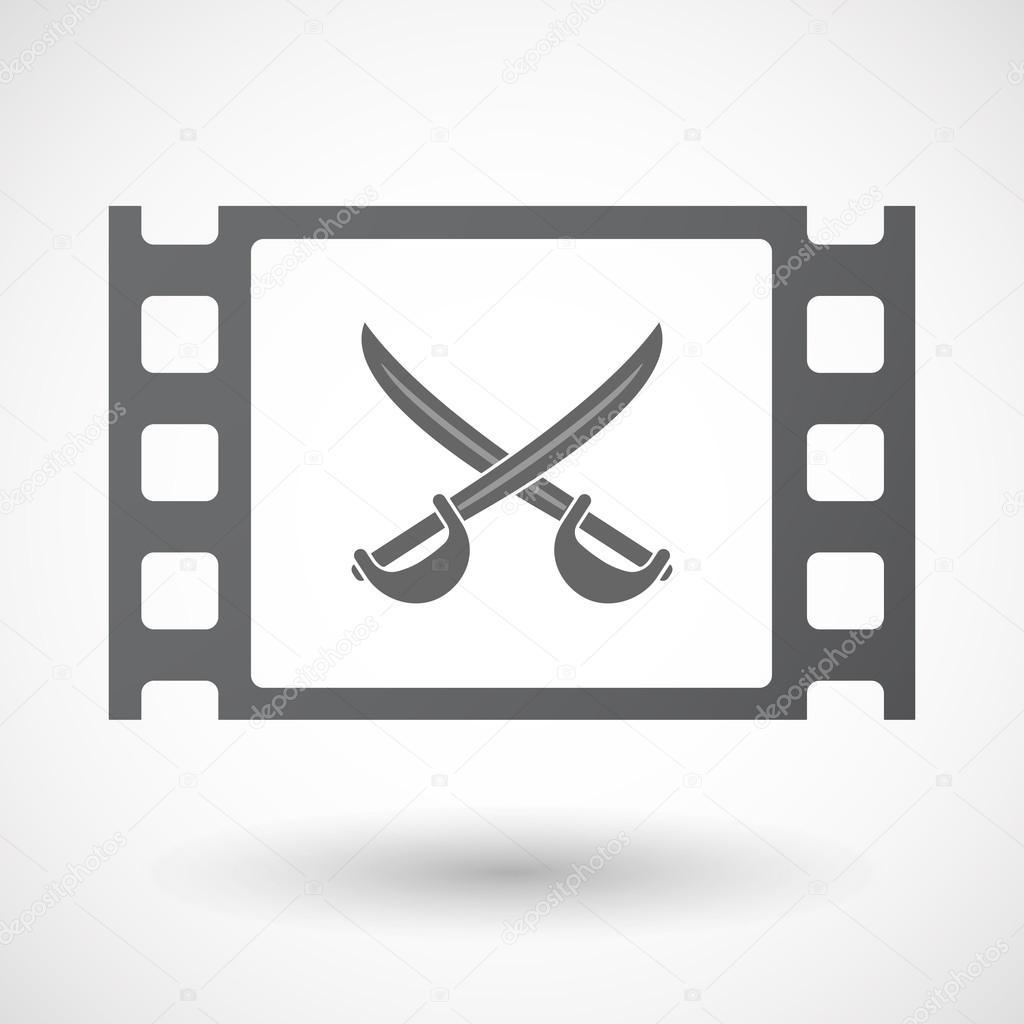 Icono de marco de película de celuloide aislado con dos espadas ...