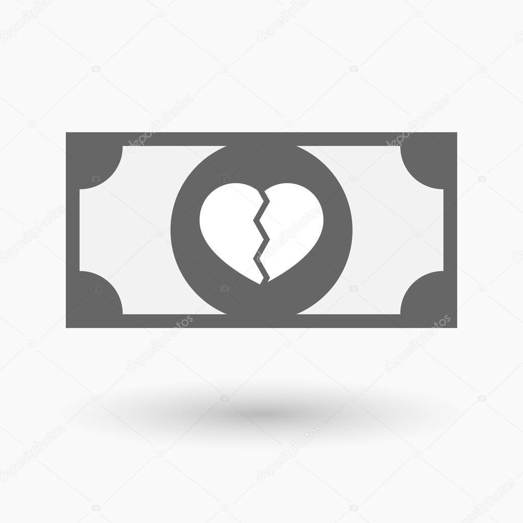 Isolated bank note icon with a broken heart — Stock Vector