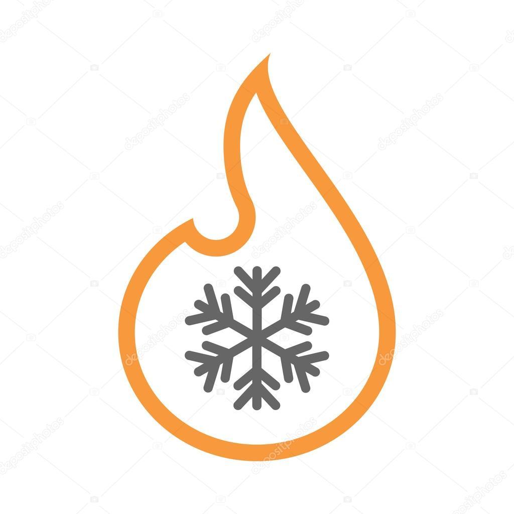 Isolierte isolierten Linie Kunst Flamme Symbol mit einer ...