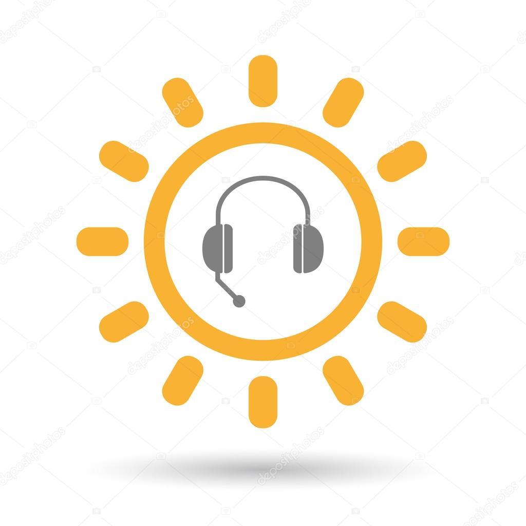 手で隔離されたライン アート太陽アイコン無料電話デバイス — ストック