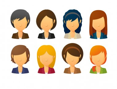 Faceless female avatars wearing suit  with various hair styles